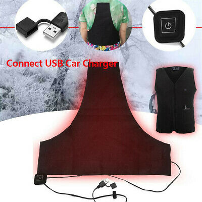 USB Heating Vest Pad Jacket Coat Heater Liner Motorcycle Riding Warm Winter Kit, usado comprar usado  Enviando para Brazil