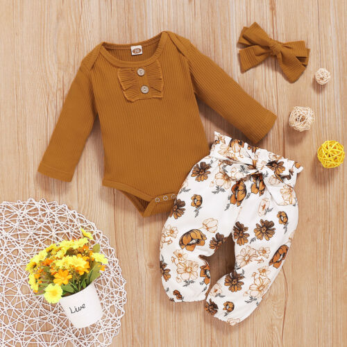 Toddler Baby Girl Clothes Romper Tops Jumpsuit Floral Pants