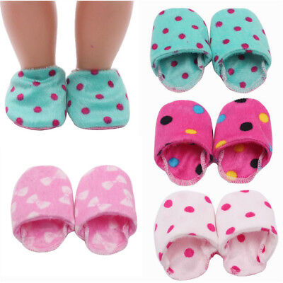 Dolls Plush Slippers Shoes For 18 inch American Girl Our Generation Dolls Toy