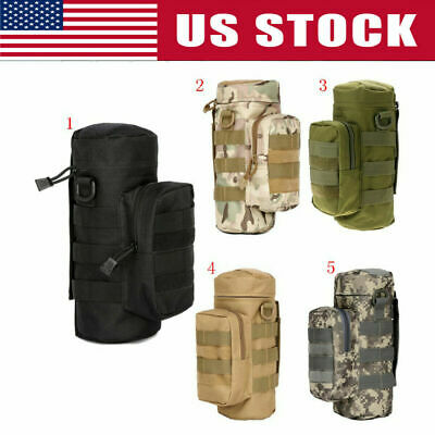 5 Colors Tactical Military Outdoor Water Bottle Bag Zipper Pouch Kettle Holder