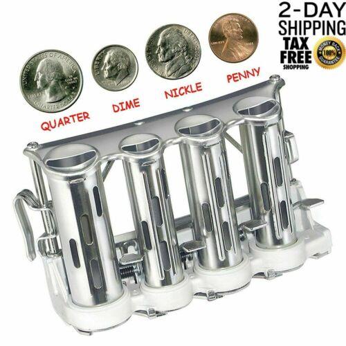 Coin Quarter Dispenser 4 Changer Belt Barrel Change Portable Metal US Penny NEW