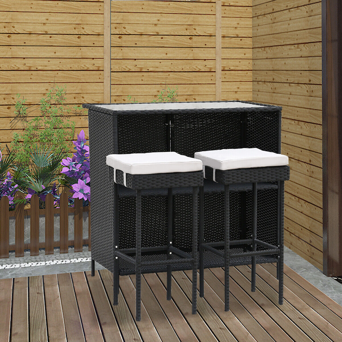 Garden Furniture - Rattan Wicker Garden Furniture 3 Set Stool Bar Table Patio Outdoor Conservator
