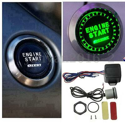 Car GREEN LED 12V ILLUMINATE Engine Button Starter Power Switch Push Start Kit