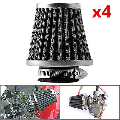4Pcs 50mm Inlet Cold Air Intake Tapered Air Filter Cleaner For Motorcycle Racer