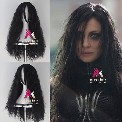 Thor Ragnarok Hela Long Curly Black Color Movie Anime Cosplay Halloween Wig