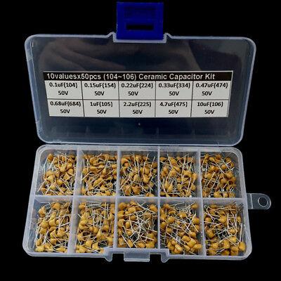 500pcs Ceramic Capacitor Assortment Kit Box 0.1uf10uf 104106 10 Values Cao
