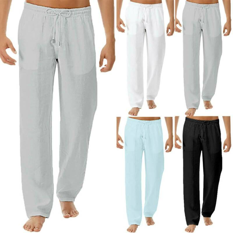 Men Elastic Waist Drawstring Straight Wide Leg Trousers Casual Loose Long Pants Clothing, Shoes & Accessories