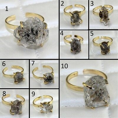 Natural Rough Raw Herkimer Diamond Yellow Gold Plated Adjustable Ring Jewelry