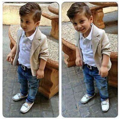 3pcs Baby Boy Kids Toddler Blazer Suit Coat+Shirt+Jeans Pants Clothes Outfit Set