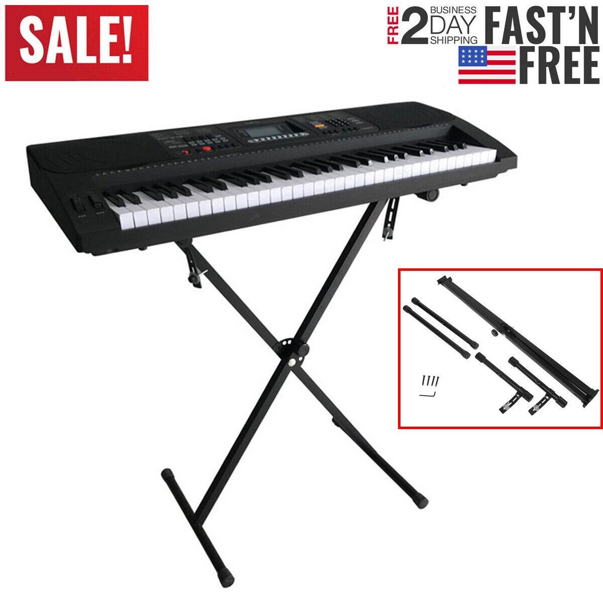 "NEW Piano Keyboard ""X"" Stand Electric Organ Rack Folding Met"