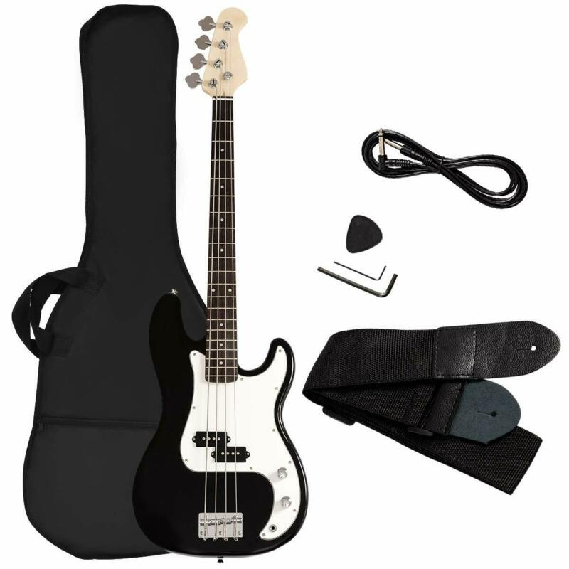 Electric Bass Guitar Full Size 4 String Strap Bag Amp Cord C