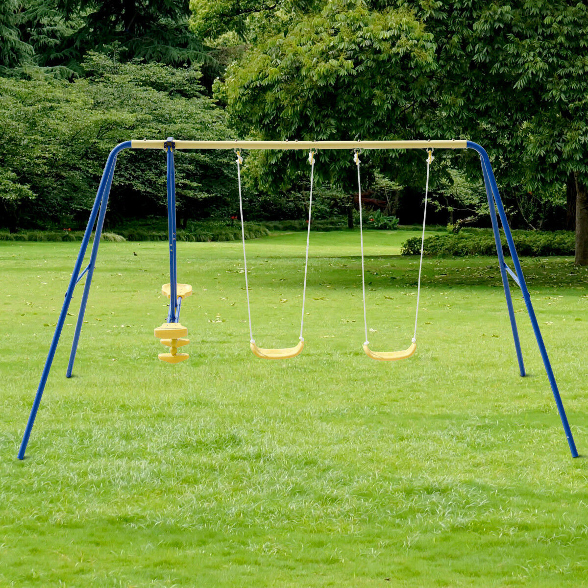 Metal Swing Set for Backyard Outdoor Playground for 4 Childr
