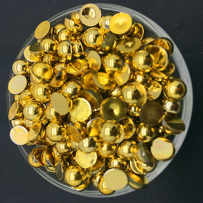 NEW 6mm 100PCS Gold Half Pearl Bead Flat Back Scrapbook for Craft FlatBack