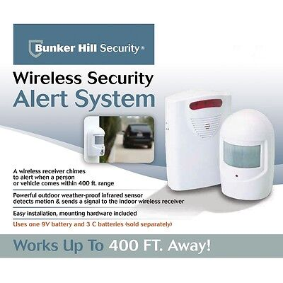 Wireless Security Alert System Door Chime driveway motion sensor post wall