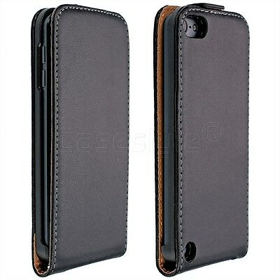 iPod Touch 6th & 5th Generation Genuine Leather Flip Case+Screen Cover Slim New ()