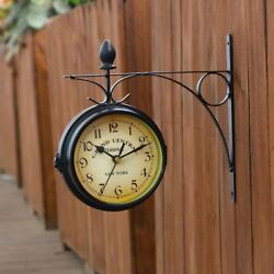 Electronic Double Side Wall Clock Outdoor Garden Station Mounted With Bracket