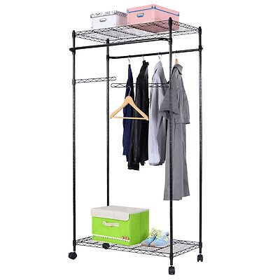 us 2 tier rolling clothing garment rack shelving wire. Black Bedroom Furniture Sets. Home Design Ideas