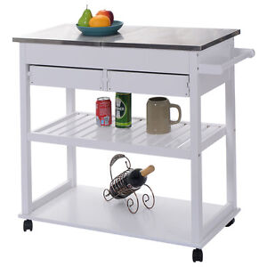 White Rolling Kitchen Trolley Cart Stainless Steel Flip Top W/Drawers  U0026Casters