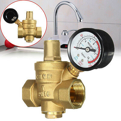Water Pressure Regulator Brass Lead Free Adjustable Pressure Reducer Gauge