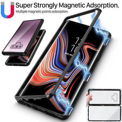 For Samsung Galaxy Note9 8 9 Plus Magnetic Metal Clear Tempered Glass Case (Clear Metal)