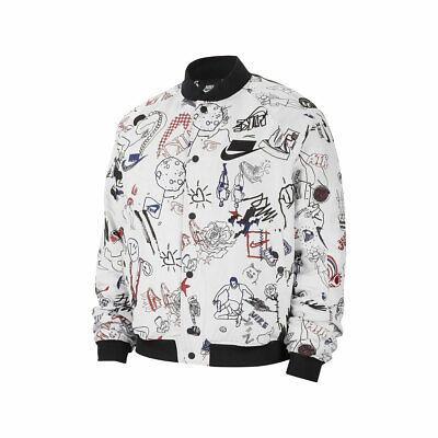 Nike Men's Sportswear NSW Bomber Jacket White Black Sketches Print CJ5042-100