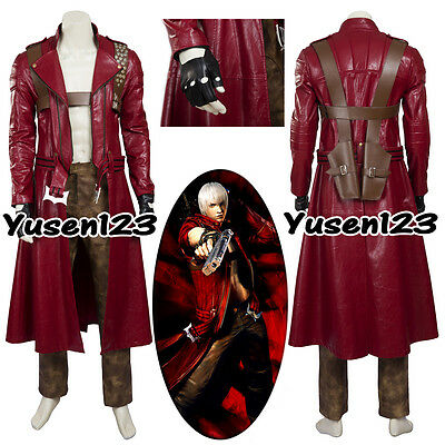 DMC Devil May Cry Dante Halloween Clothing Cosplay Costume Red Long Coat Pants  - Dmc Costumes