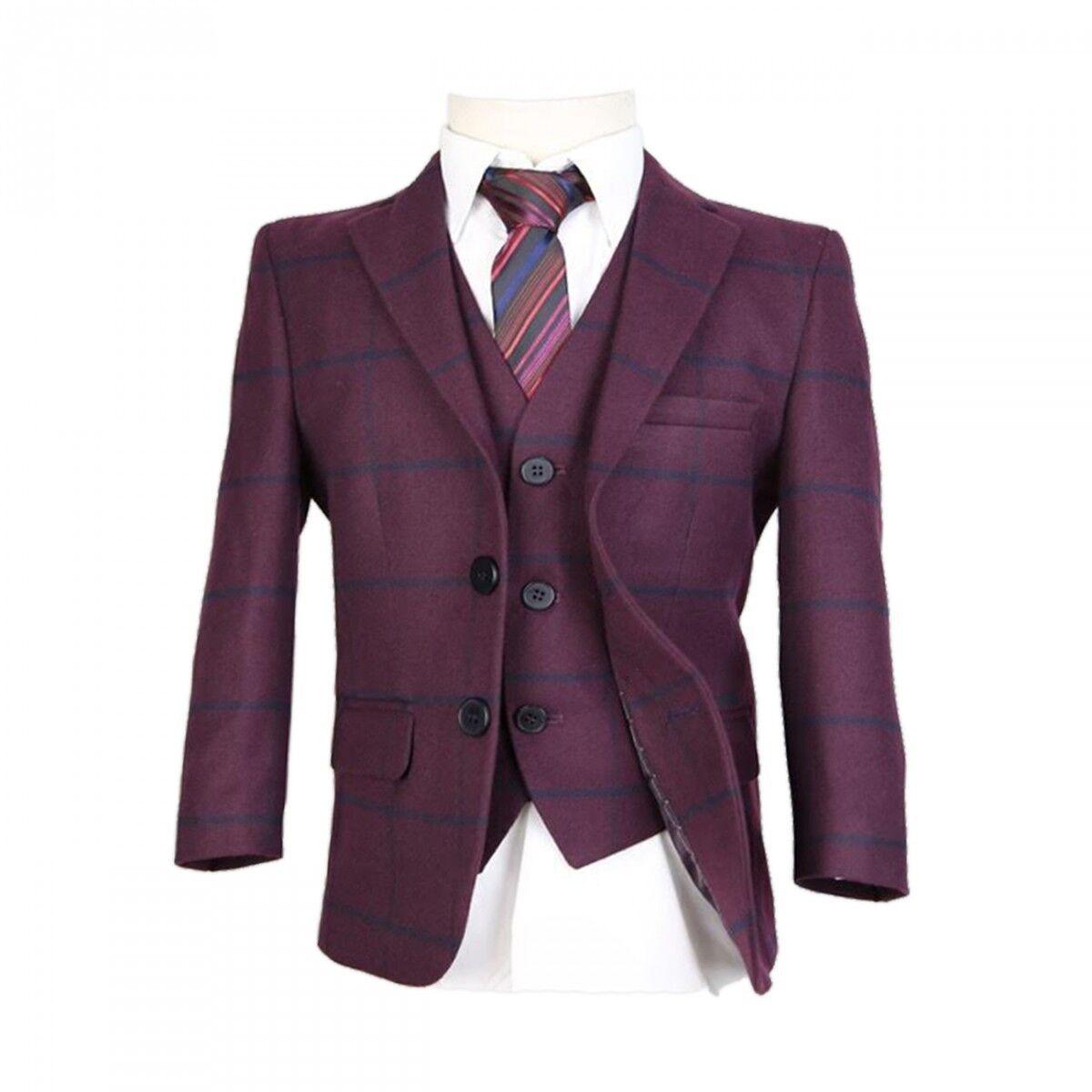 Boys Wool Mix Checkered Suits Boy Pageboy Wedding Prom