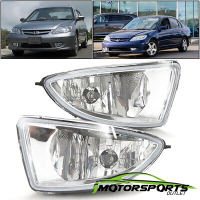 For 2004 2005 Honda Civic 2DR/4DR Coupe Sedan Clear Fog Lights w/ Switch+Harness 2dr Clear Fog Lights