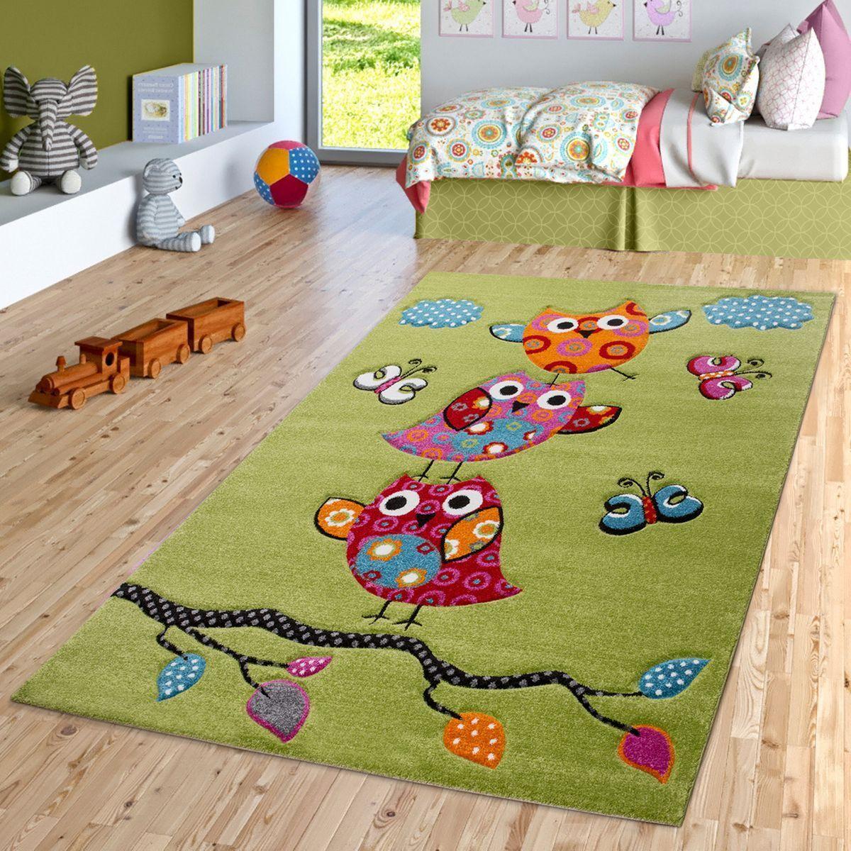 Eulen Teppich Grün Pink Creme Kinderzimmerteppich mit Konturenschnitt