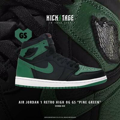 Nike Air Jordan 1 Retro High GS I AJ1 2020 Pine Green 2.0 Black Kids 575441-030