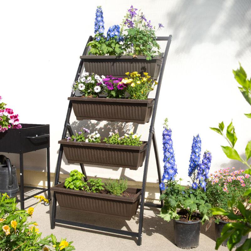 4 Tier Vertical Raised Garden Bed Planter Boxes Patio Balcony Outdoor / Indoor