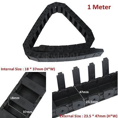 1m 1000mm 40 Black Long Nylon Cable Drag Chain Wire Carrier R38 18mm X 37mm