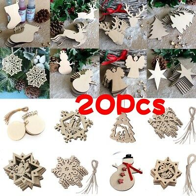 20 Pcs Christmas Wood Chip Tree Ornaments Xmas Hanging Pendant Home Decor Party](Hanging Ornaments)