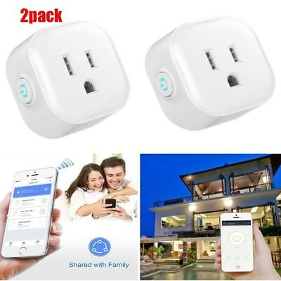Smart Wi-Fi Mini Outlet Plug Switch Works With Echo Alexa Remote Control -2 Pack