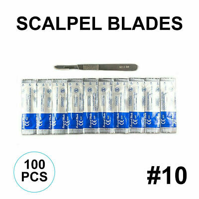 Lot Of 100 Scalpel Blades 10 With 3 Metal Handle Suitable For Dermaplaning
