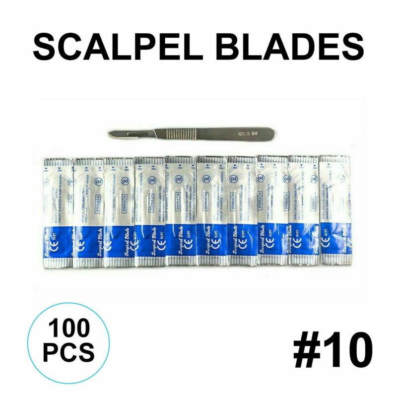 (Lot of 100) Scalpel Blades #10 with #3 Metal Handle Suitable for Dermaplaning