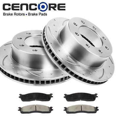 Front Set Drilled Slot Brake Rotors & Ceramic Pads for Dodge Ram 2500 3500 03-08