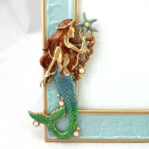 Mermaid Standing Photo Frame Blue Lustre Border 4 x 6 inch Picture Opening NEW