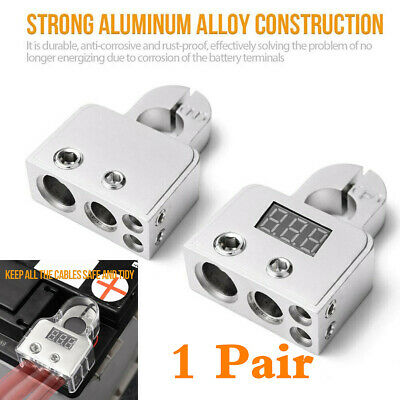 Silver 2pcs 12V  Positive Negative Battery Terminals Connectors With w/Voltmeter