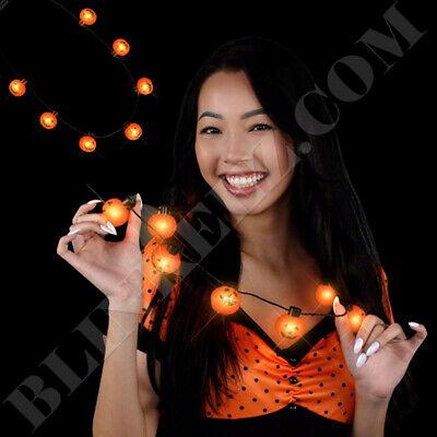 BIG PUMPKINS LED Light Up Flashing FUN HALLOWEEN Necklace - Flashing Jewelry