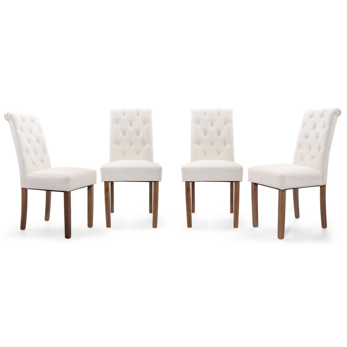 Set of 2 Solid Wood Padded Tufted High Back Parsons Dining Chairs Leisure Beige