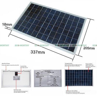 ECO 10Watt 18V PV Solar Panel 12V Solar for Car Boat Camping Battery Recharge