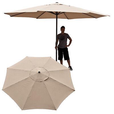 Beige 13' FT Patio Feet Steel Outdoor Big Umbrella Deck Gazebo Shade Cover