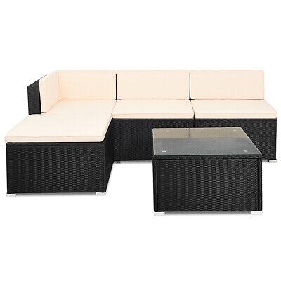 Garden Furniture - 5 Pieces Patio Rattan Furniture Sets Wicker Sofa Deck Couch Garden Furniture