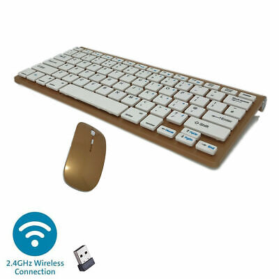 MINI WIRELESS 2.4GHZ GOLD KEYBOARD AND MOUSE COMBO FOR APPLE iMAC MACBOOK PRO