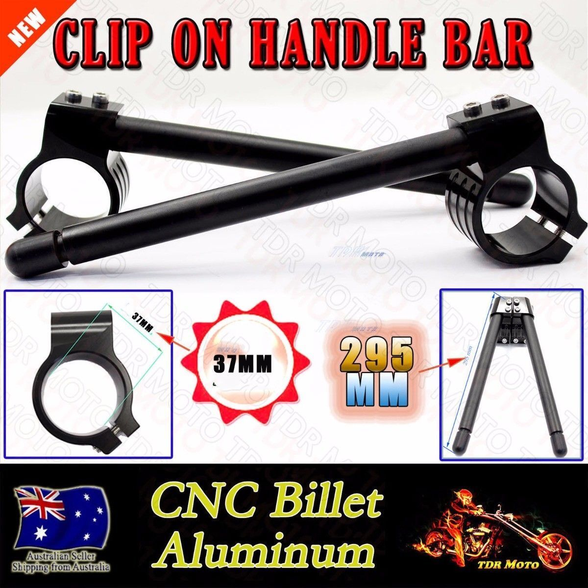 Universal 37mm CNC Fork Clip-ons Handle Grip Handlebar for Motorcycle Black