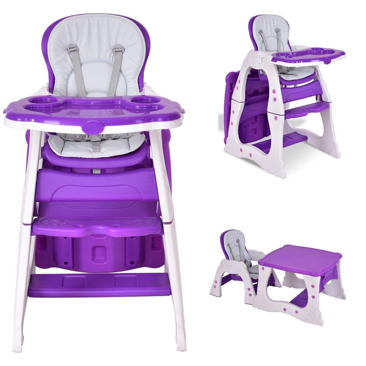 High Chair Baby 3 In 1 Purple Girl Feeding Chair Toddler Con