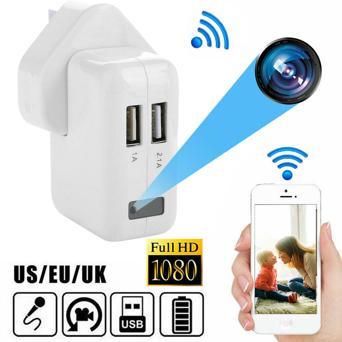 1080P USB Mini Hidden Wall Charger Camera Power Adapter Plug Cam DC 5V 1A