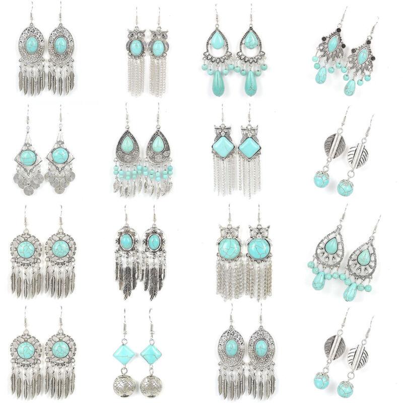 Tibetan Silver Vintage Turquoise Women Fashion Jewelry Dangle Earrings Best Gift