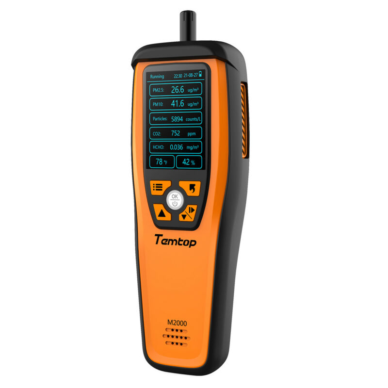 Temtop M2000 Air Quality Monitor PM2.5 PM10 CO2 Tester HCHO Temperature Humidity